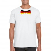 Bellatio Decorations Shirt met Duitsland strikje wit heren L - Feestshirts
