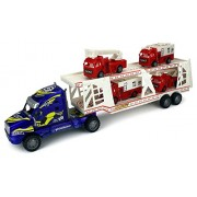 Fire Dept. Trailer Children's Kid's Friction Toy Truck Ready To Run w/ 4 Toy Fire Trucks, No Batteries Required (Colors May Vary)