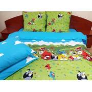 Lenjerie de pat de lux Angry Birds Duo Azur, 2 persoane, bumbac calitate I