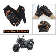 AutoStark Gloves KTM Bike Riding Gloves Orange and Black Riding Gloves Free Size For Honda CB Trigger