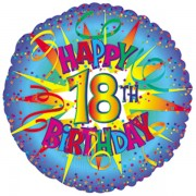 """FÓLIA LUFI, 17""""/43cm, GÖMB, HAPPY BIRTHDAY 18."""
