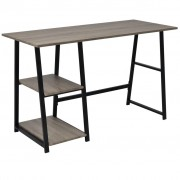 vidaXL Desk with 2 Shelves Grey and Oak