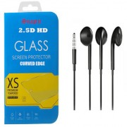 Snaptic 25D HD Tempered Glass and Hybrid Noise Cancellation Earphones with Mic for Samsung Galaxy J5 Prime