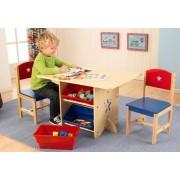Csillagos asztal játéktárolóval és 2 szék szett, Kidkraft