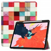 Pattern Printing Tri-fold Stand Leather Smart Tablet Casing for iPad Pro 12.9-inch (2018) - Colorized Checks