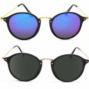 Ivonne Ivonne Golden Black Blue Round Oval Sunglasses