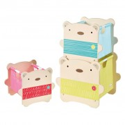 Worlds Apart Three Piece Stack Storage Boxes Bear Hug Beige WORL230013