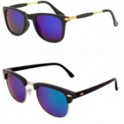 Barbarik Clubmaster, Wayfarer Sunglasses(Multicolor)