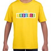 Bellatio Decorations Miss trouble fun tekst t-shirt geel kids XL (158-164) - Feestshirts