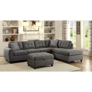2 pc stonenesse collection steel grey linen like fabric upholstered reversible sectional sofa set