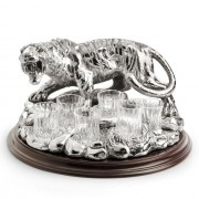 Indian Tiger Vodka Set Silver Plated by Chinelli made in Italy