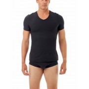 Underworks Shapewear MagiCotton V Neck Compression Short Sleeved T Shirt Black 985101
