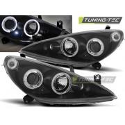 Přední světla, lampy Angel Eyes Peugeot 307 01-05 černé, s mlhovkami