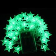 6M Con 40 Lámparas De Cadena De Forma Estrella Para Navidad O Adornar - Verde