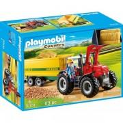 Set de joaca Playmobil Tractor Cu Remorca Galbena