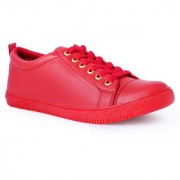 Stylish Step Mens Red Lace-Up Sneakers
