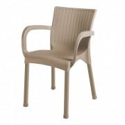 Scaun cu maner, imitatie ratan, picioare aluminiu, Escalate, 60x60x82 cm