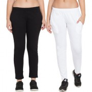 Cliths Women's Combo of 2 Black/ White Sport Wear Cotton Stylish Solid Trackpant|yoga pant