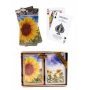 Bundle - 3 items: 1 Congress Playing Cards Sunflower Bridge (2 Decks), with 2 Packs (12 Each Pack) T