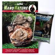 NanoNature set de decoración con rocas Pagoda - 5 rocas + 3 litros NatureSoil marrón, fino