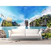 hwhz Naturaleza Papel De Pared Pegatinas Sea Island Photo Wallpaper Mural Decoración Para El Hogar 3D Sala De Estar Dormitorio Papel Pintado De Seda-150X120Cm