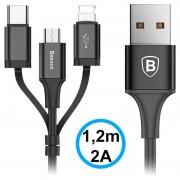Baseus 3-in-1 USB Cable - Lightning, Type-C, MicroUSB - Black