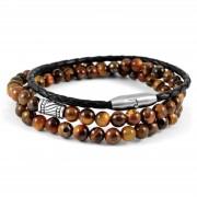 Neshraw Bracelet de pierres marrons oeil de tigre