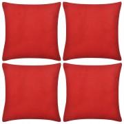 Kussenhoezen katoen 50 x 50 cm rood 4 stuks