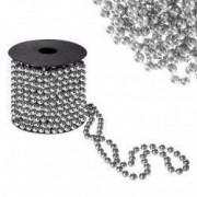 Sirag margele decorative de Craciun pentru brad 8mm x 10m argintiu