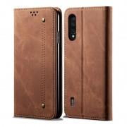 Xiaomi Voor Xiaomi Mi CC9 / Mi 9 Lite Denim Texture Casual Style Horizontal Flip Leather Case with Holder & Card Slots & Wallet(Brown)