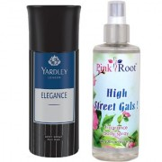 Yardley Elegance Body Spray for Men 150ml and Pink Root High Street Gals Fragrance body Spray 200ml Pack of 2