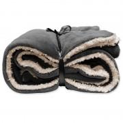 Unique Living Tweepersoons bedsprei/plaid antraciet grijs/wit 150 x 200 cm nepbont/zachte stof
