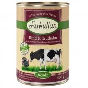 6х400г Adult Lukullus консервирана храна за кучета без зърно - говеждо и пуешко