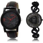 LOREM SR-8-237 Attractive Silver & Black Round Boy's & Girl's Metal Bracelet & Leather Watch - For Men & Women