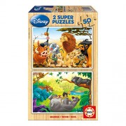 Educa Educa - Wood Jigsaw Puzzle - 2 X 50 Pieces - Disney My Animals Friends