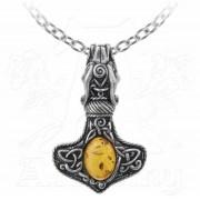 ALCHEMY GOTHIC nyaklánc - Amber Dragon Thorhammer - P728