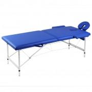 vidaXL Масажна кушетка, 2 зони, алуминиева основа, цвят: син