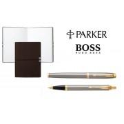 Caseta cadou Pix Roller Parker Accesorii Aur 23 kt. Brushed Metal si Note Pad Hugo Boss - personalizabil