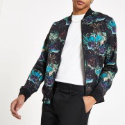 River Island Mens Black paradise print bomber jacket (XL)