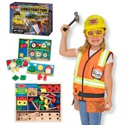 Little Builders Ultimate Role Play Set Construction Role Play Costume, Sort/Match/Attach Nuts & Bolts, Construction Floor Puzzle And Screws And Blocks By Melissa & Doug