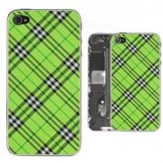 iPhone 4 Bakstycke Tartan Vinyl (Grön)
