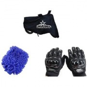 AutoStark Combo Bike Accessories Bike Body Cover Black With Pro Biker Full Gloves + Bike Cleaning Gloves For Hero Achiever