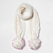 River Island Girls White cable knit large pom pom scarf