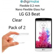 Digimate Nano Clear 0.2 mm Screen Guard Protector Flexible Glass for LG G3 Beat (Pack of 2)