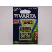 Varta HR03 AAA 1000mAh Ni-Mh acumulatori ready to use 1.2V blister 4