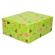 Bellatio Decorations 3x Sinterklaas inpakpapier/cadeaupapier print groen 250 x 70 cm