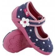 Pantofi fetite, din material textil, jeans cu scai, cu motive stelute