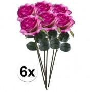 Bellatio flowers & plants 6x Paars/roze rozen Simone kunstbloemen 45 cm