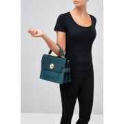 Womens Next Patent Top Handle Tote - Teal