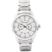 Titan Quartz Silver Round Men Watch-9323SM01